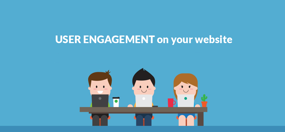 user engagement title with people sitting at desk