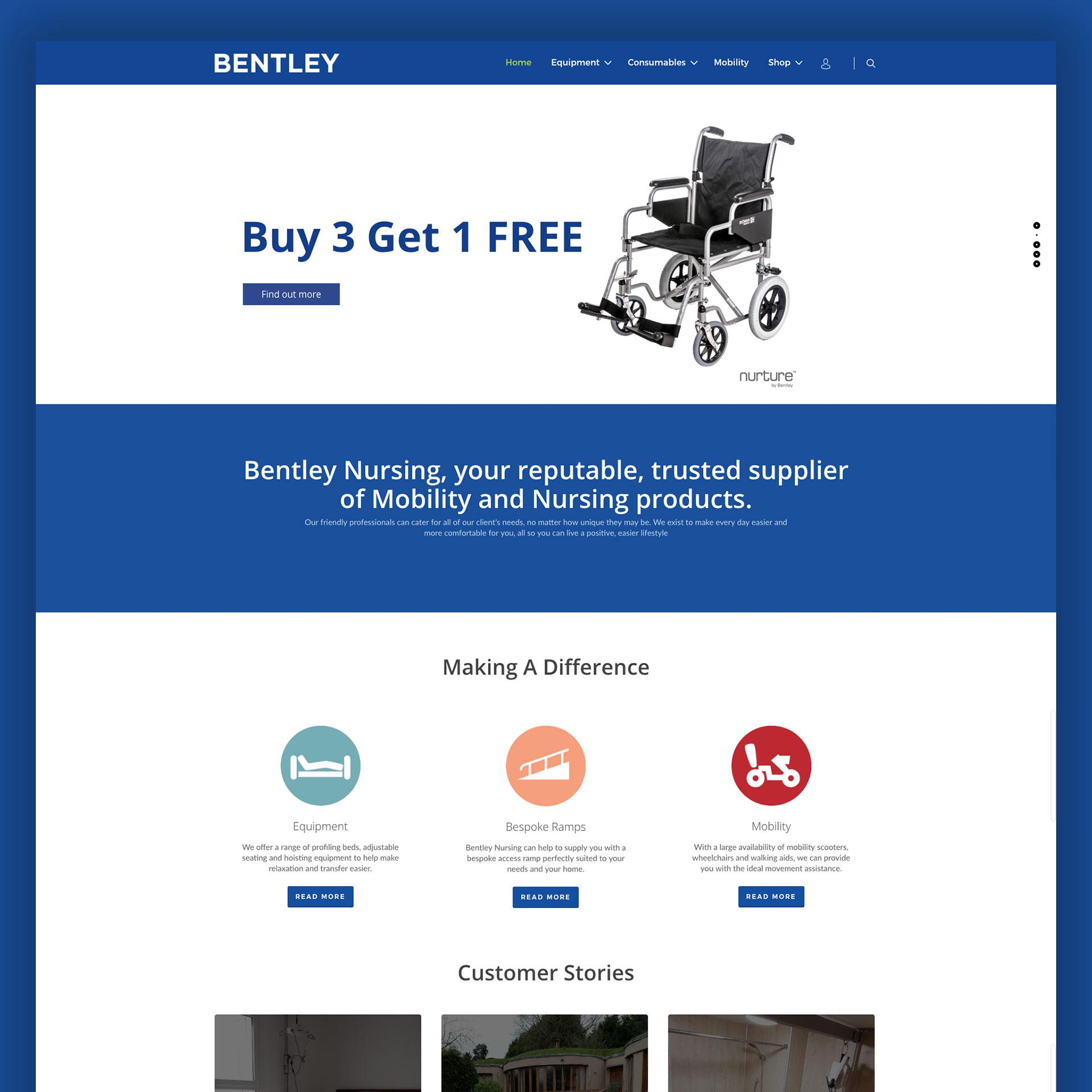 Screenshot of bentleys website.
