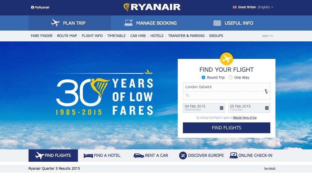 Current Ryan Air web page