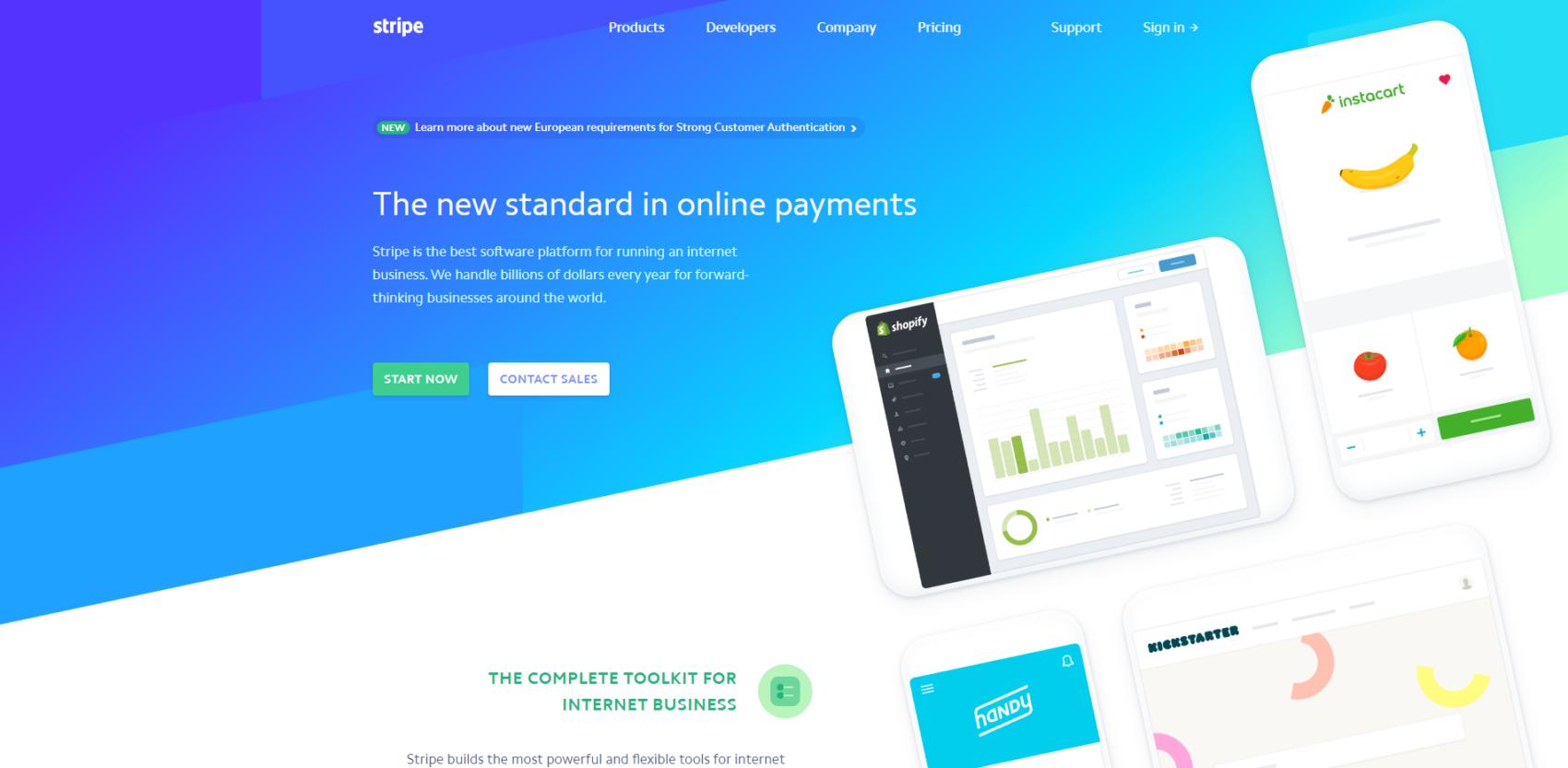 Bright Blue Gradient Website
