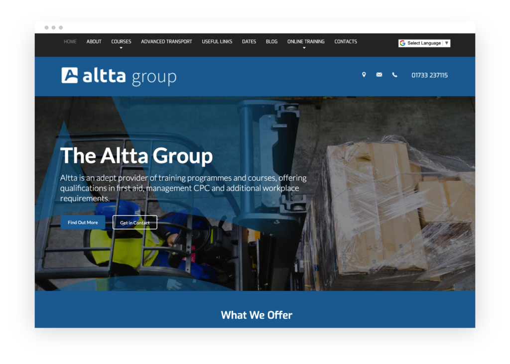 Altta Group homepage mockup in browser