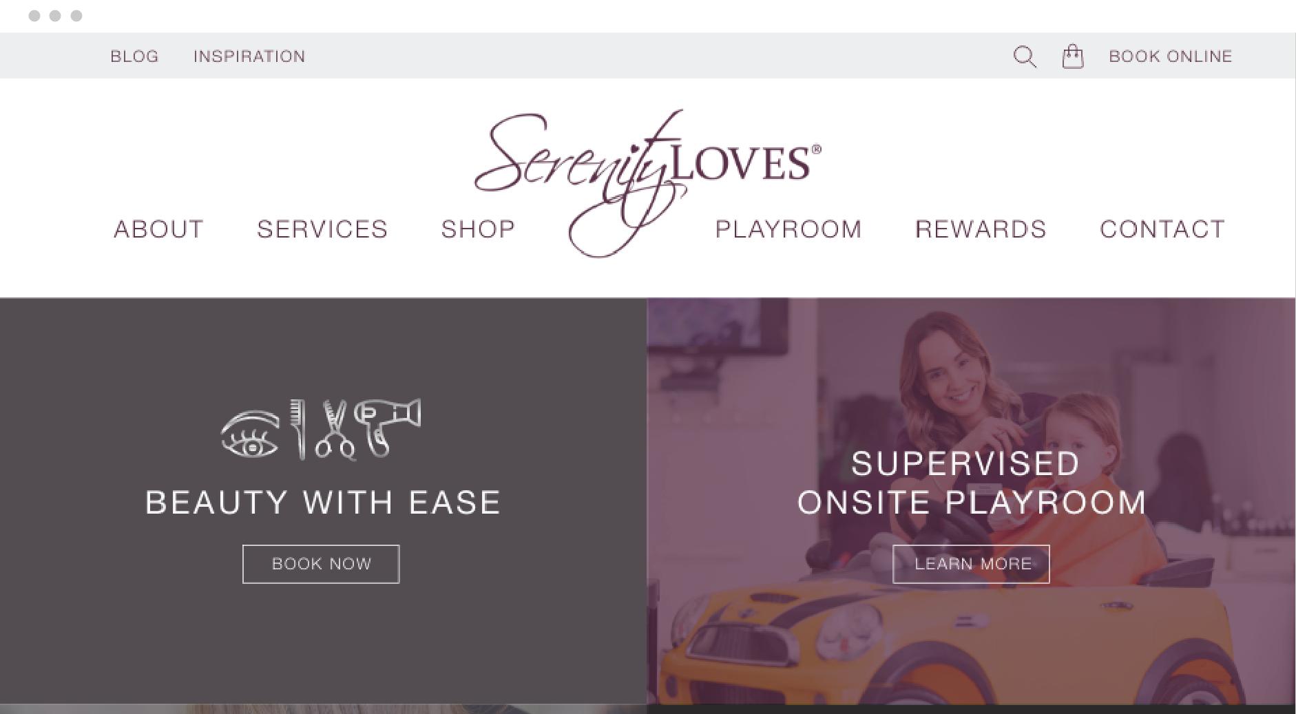 Serenity Loves website mockup in browser