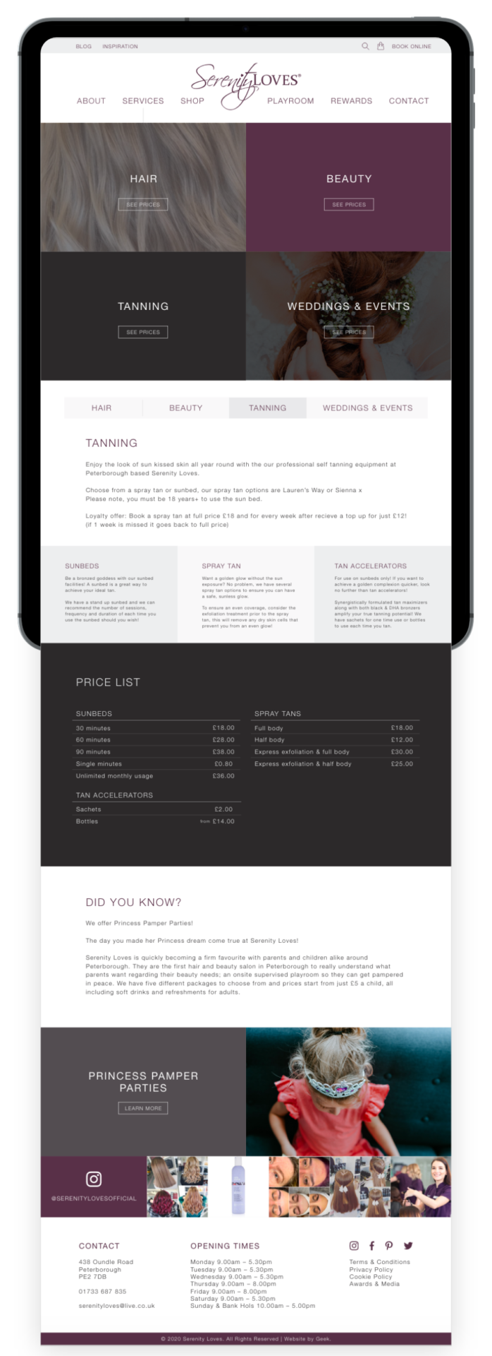 Serenity Loves website design on tablet