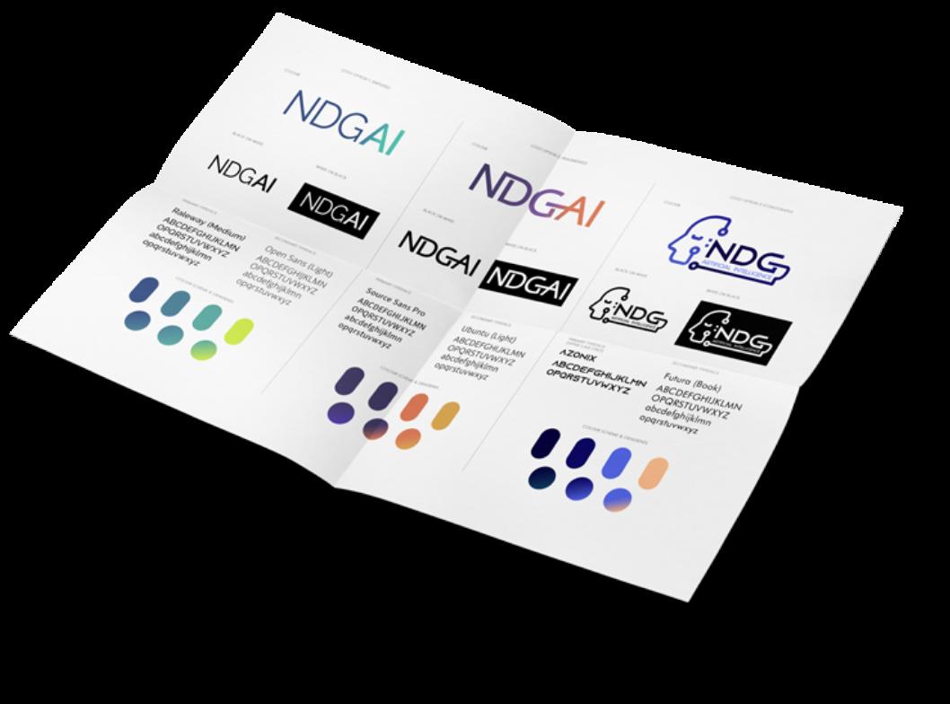 NDGAI logo design branding sheet