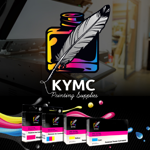KYMC logo with ink products below, all on a black gradient with printer behind