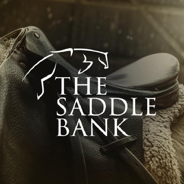 The Saddle Bank logo on a background of a saddle